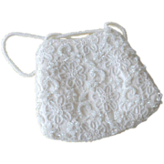 SALE Regale White Beaded Hand or Evening Bag Purse