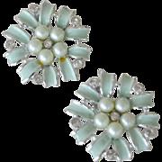 SALE Charel Earrings Blue Enamel Faux Pearls on Card