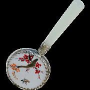SALE Purse Mirror Stone Silverplate Bird Flowers