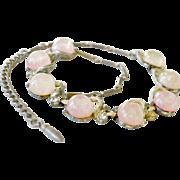 Art Glass Faux Opal Confetti Glass Necklace