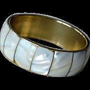 SALE Bangle Bracelet Brass Mother of Pearl