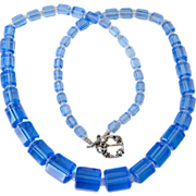 Blue Deco Glass Bead Necklace