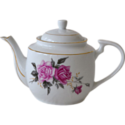 Porcelain Teapot with Roses One Cup