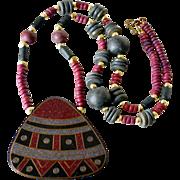SALE Wood Ethnic Style Pendant Necklace