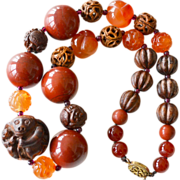 Chinese Bead Necklace with Netsuke Style Center