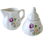 Sugar and Creamer with Flowers Child or Doll Sized