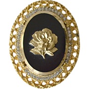 Pendant Pin Brooch Glass Cameo with Rose