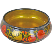 SALE Russian Lacquer Wood Bowl Khokhloma