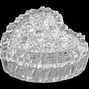 SALE Glass Heart Trinket Box Heavily Cut Crystal