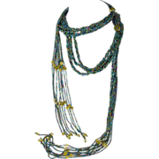 Necklace Sautoir Jewel Like Beads 60 inches Long 15 inch Tassels