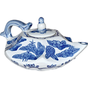 SOLD ON HOLD Teapot or Sake Pot Blue White