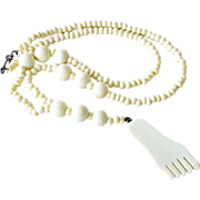 Necklace Bone Beads and Foot Pendant