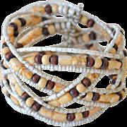 SALE Wide Cuff Bracelet Braided Beads
