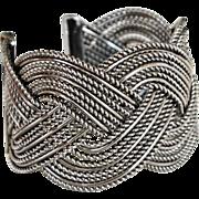 SALE Wide Cuff Bracelet Braided Wire