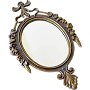 SALE PENDING Brass Oval Mirror Italy
