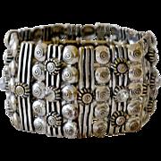SALE Wide Cuff Panel Bracelet with Rhinestones