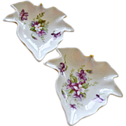 SALE Two Nesting Lefton Porcelain Dishes with Hand Painted Violets