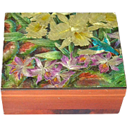 SALE Cedar Jewelry Box with Hummingbird and Iris Flowers