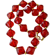 Necklace Large Deep Ruby Red Beads