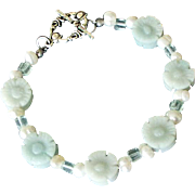 Bracelet Amazonite Flowers and Freshwater Pearls