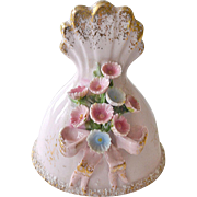 Lefton Porcelain Bell Pink with Raised Sculpted Flowers