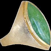 Jade Ring Marquise Shape 14k 11 Grams Unisex