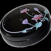SALE Porcelain Trinket Box Black with Orchids