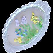 Vanity Dresser Tray Heavy Ornate Glass Hand Painted