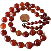 Carnelian Bead Necklace on Chain Pre 1940s Vintage
