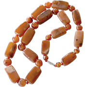 Hefty Carnelian Necklace One Inch Beads