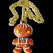 Necklace Porcelain Gingerbread Cookie Figure Pendant