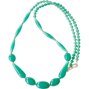 Necklace Jade Green Peking Glass Beads
