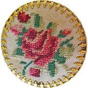 SALE Pin Petitpoint Needlework Rose