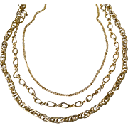 Chain Necklace Three Strands 28 Inches