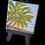 Miniature Original Painting Palms on Beach