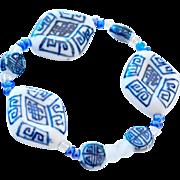 Bracelet Blue and White Porcelain Beads
