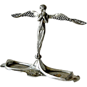 Pewter Ring Stand Art Nouveau Angel