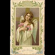 Embossed Angel Card Easter Greetings