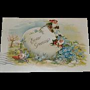 Postcard Santas Elves on Easter Egg