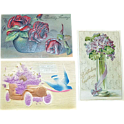 Postcards Flowers German Embossed