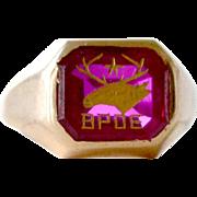 Mens Ring Elks 10kt Gold Ruby