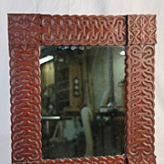 Unusual  Vintage Folk Art Carved Cherry Mirror