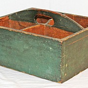SALE Antique Pine Carrier in Original Green Surface