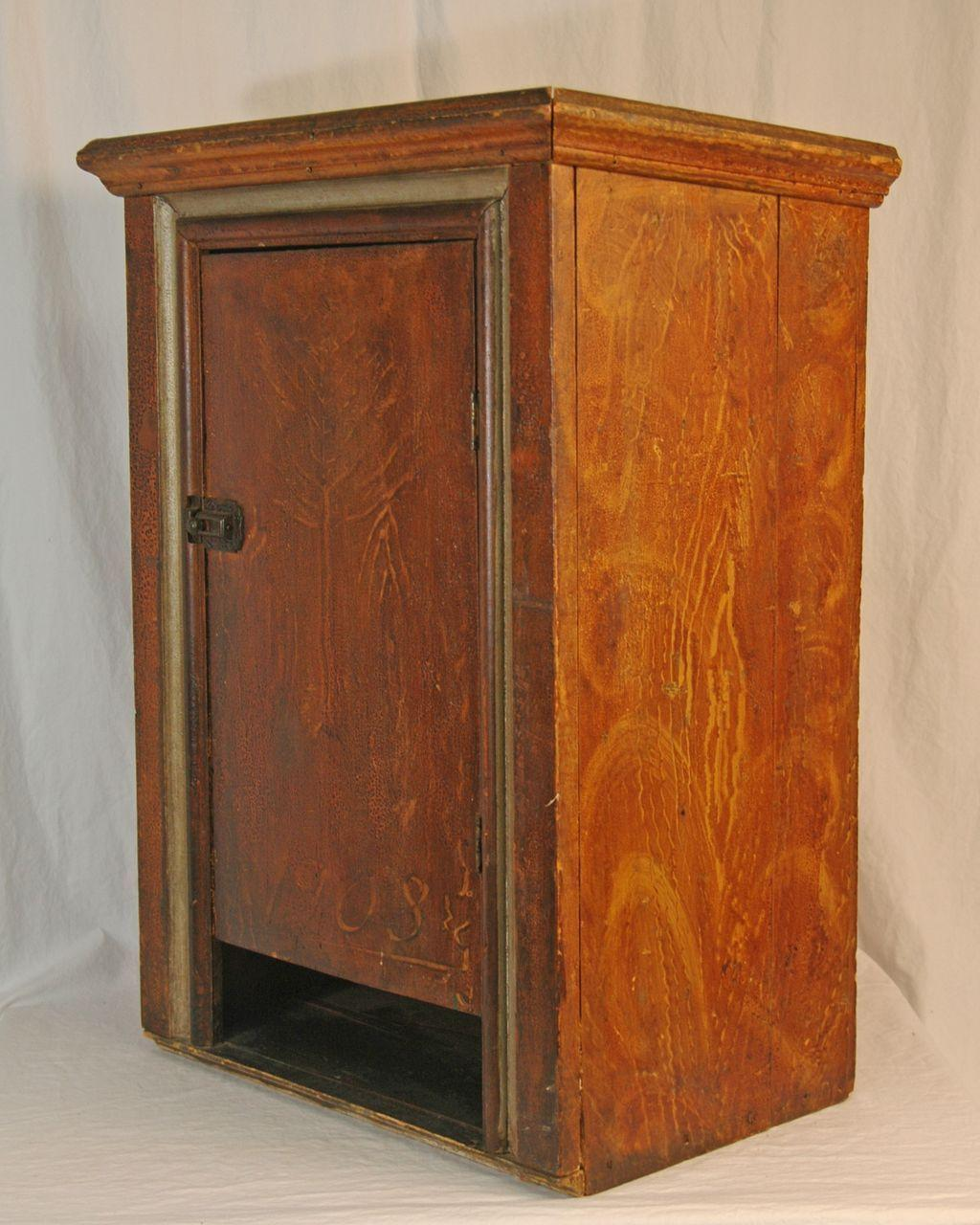 Antique Faux Painted Wall Cabinet