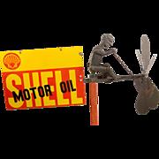 """""""Pedaling Man"""" Early Advertising Whirligig"""