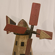 REDUCED Paint Decorated Windmill Whirligig