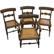 Set of Four Antique American Painted Fancy Chairs