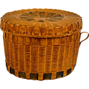 SOLD Early Woodlands Storage Basket with Lid