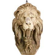 Carved and Painted Wooden Lion's Head