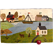 19th Century Harbor Scene Hooked Rug